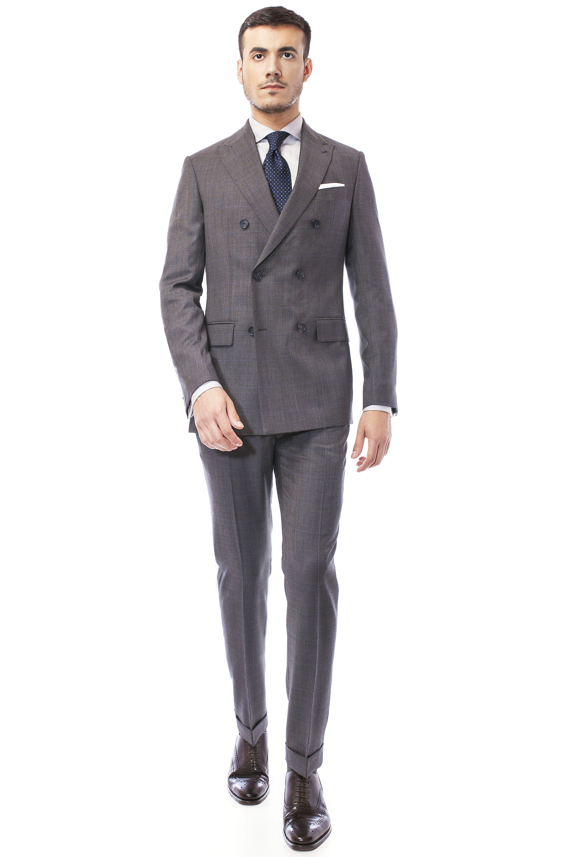 Grey double buttoned business suit | Suits