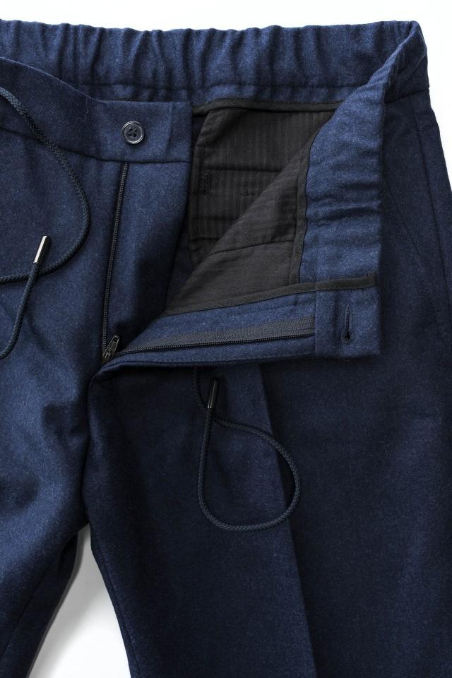 Pantaloni smart casual flannel Albastru din Lana