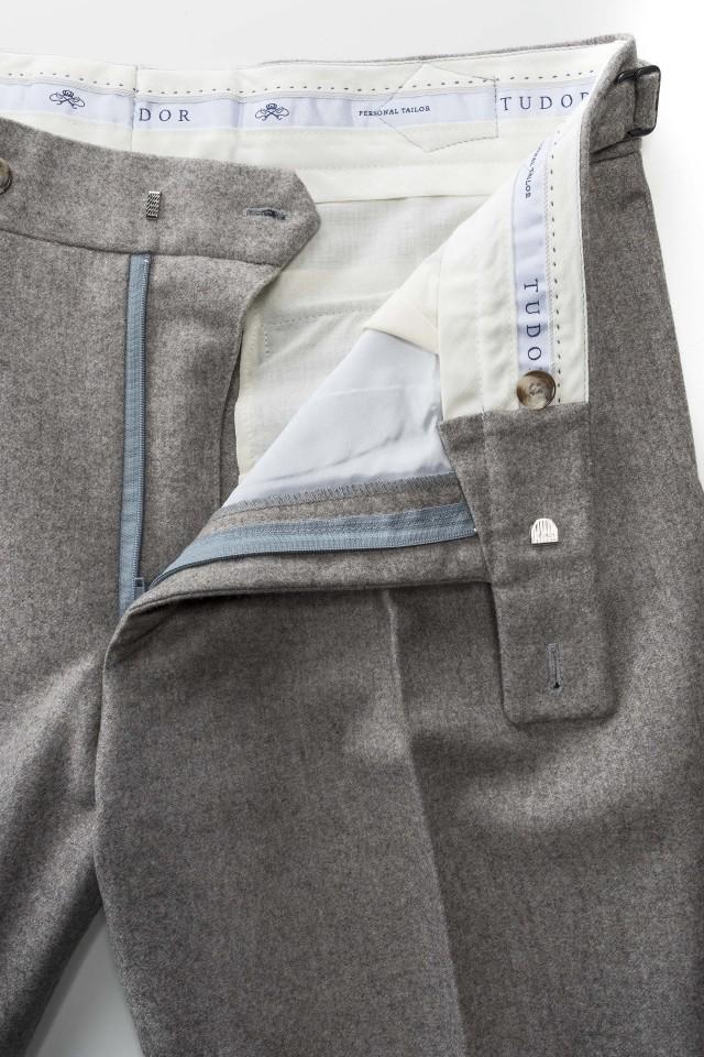 Pantaloni smart casual flannel Sand din Lana