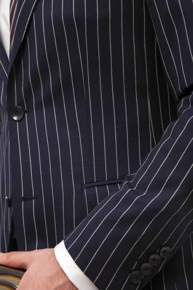 Costum Alanis Navy Stripe Bleumarin