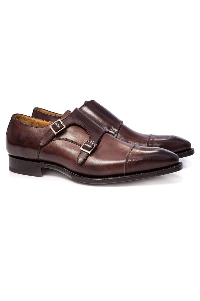 Pantofi Double Monk Brown