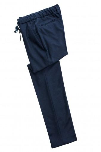 Pantaloni smart casual flannel Bleumarin din Lana