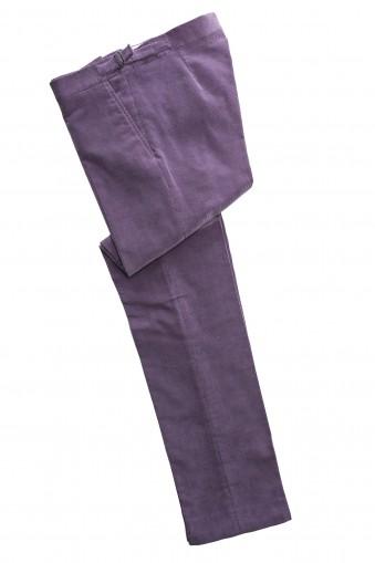 Pantaloni smart casual de catifea cord Lavanda din Bumbac