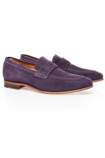 Pantofi loafers prugna suede