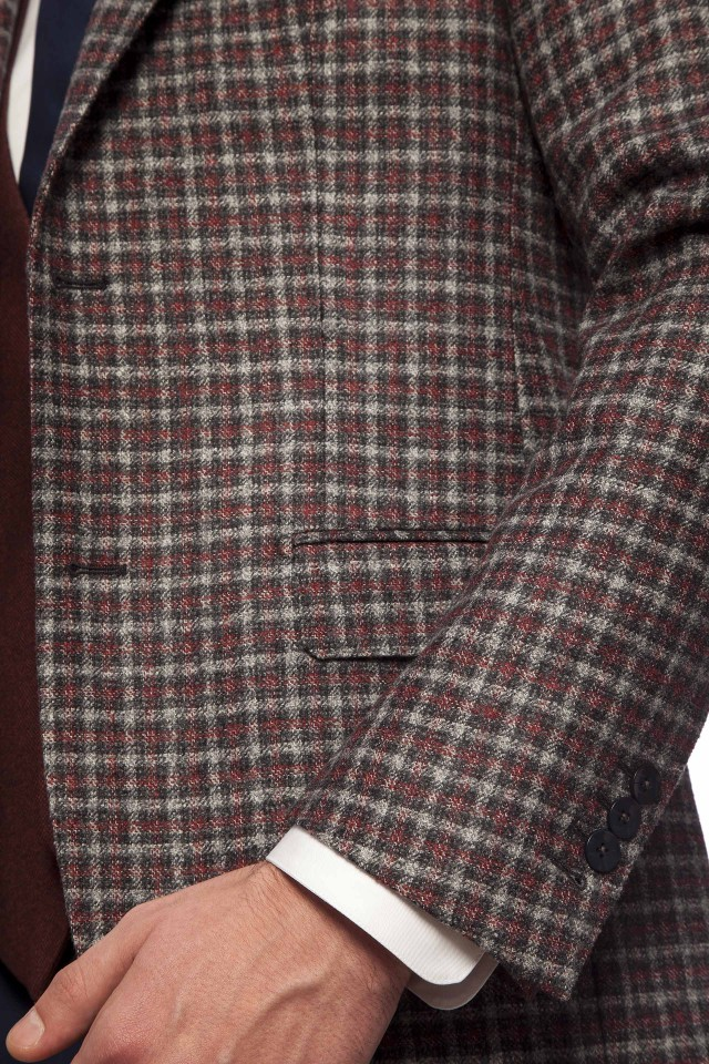 AISLIN BURGUNDY CHECK Jacket