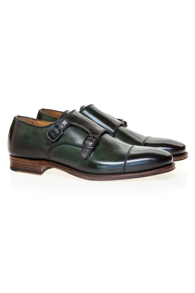 Double Monk Oliver Green Shoes
