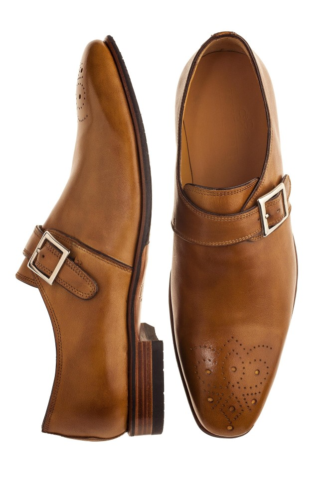 Brown single monk strap shoes