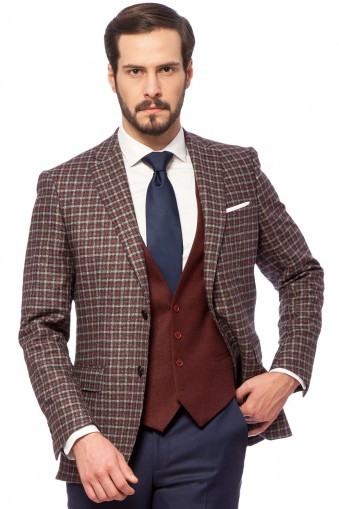 AISLIN BURGUNDY CHECK Jacket