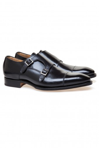 Double Monk Black Shoes