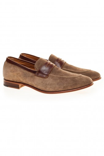 Beige suede loafers shoes