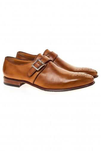 Brown single monk strap shoes