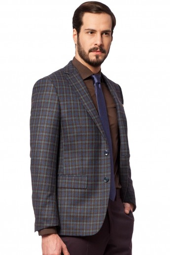 AISLIN NAVY CHECK Jacket