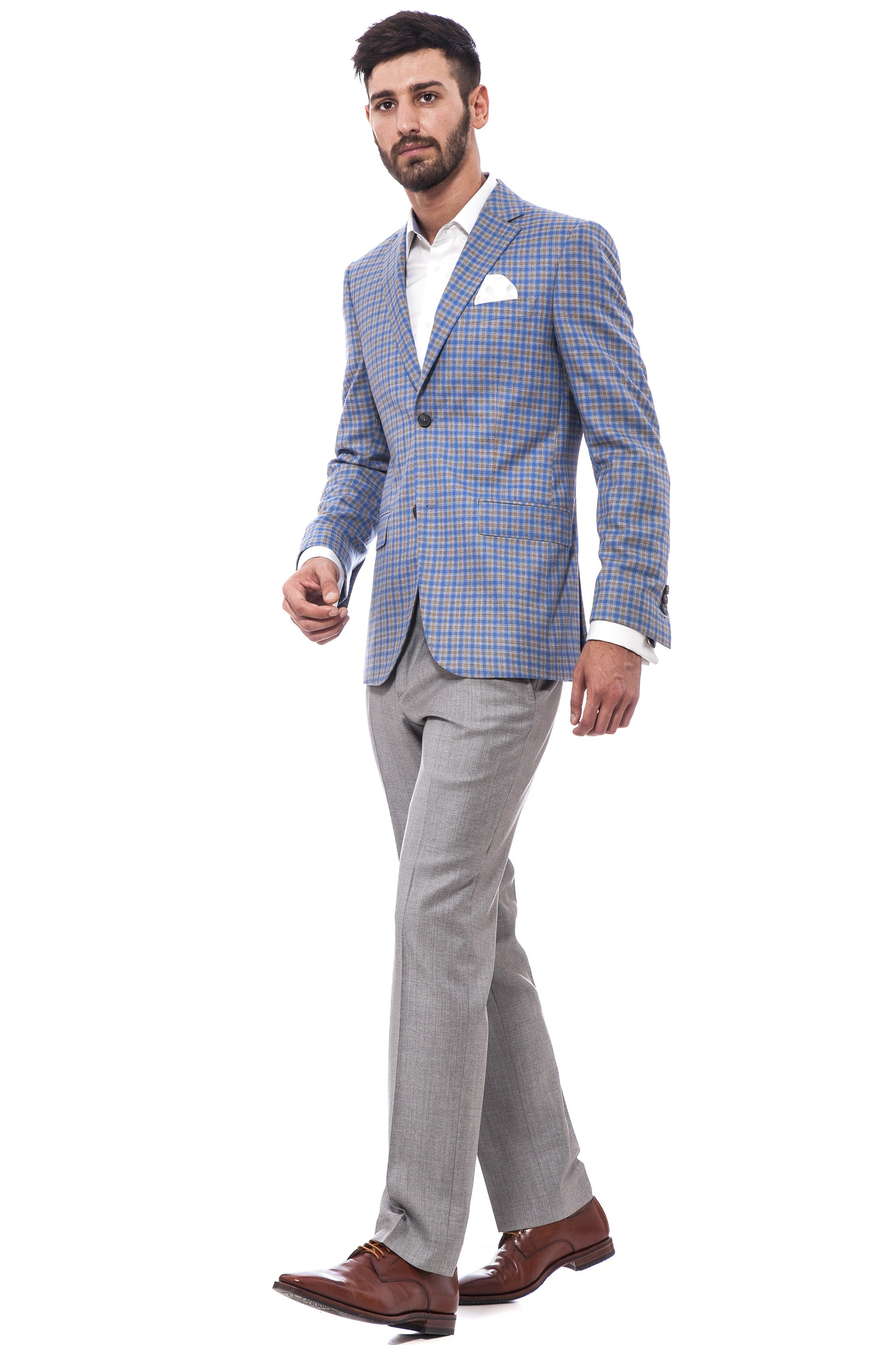 Casual suit, light blue plaid blazer, grey pants| Suits | Suits ...