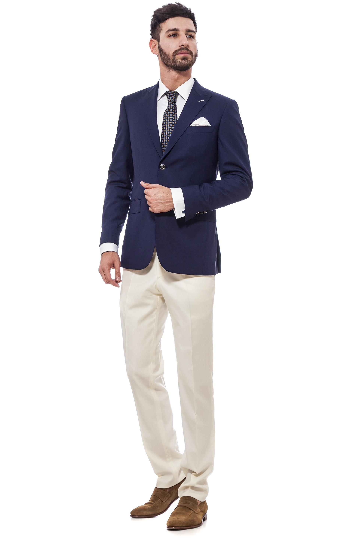 Smart casual suit, navy blazer, beige pants  Suits   Suits ...