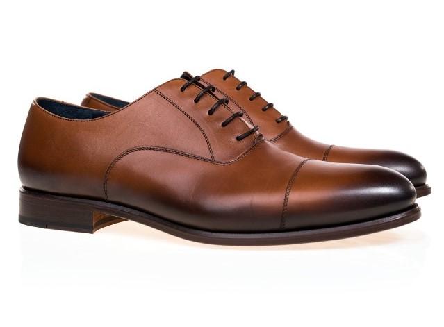 Pantofi maro din piele Oxford pentru barbati