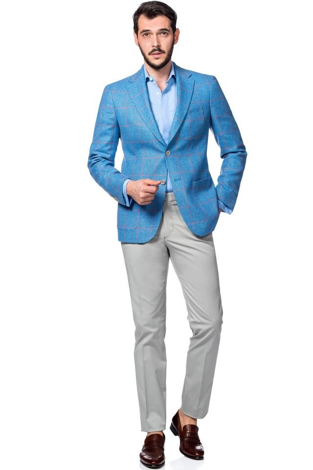 Costum casual albastru din doua culori, pentru nuntile pe plaja
