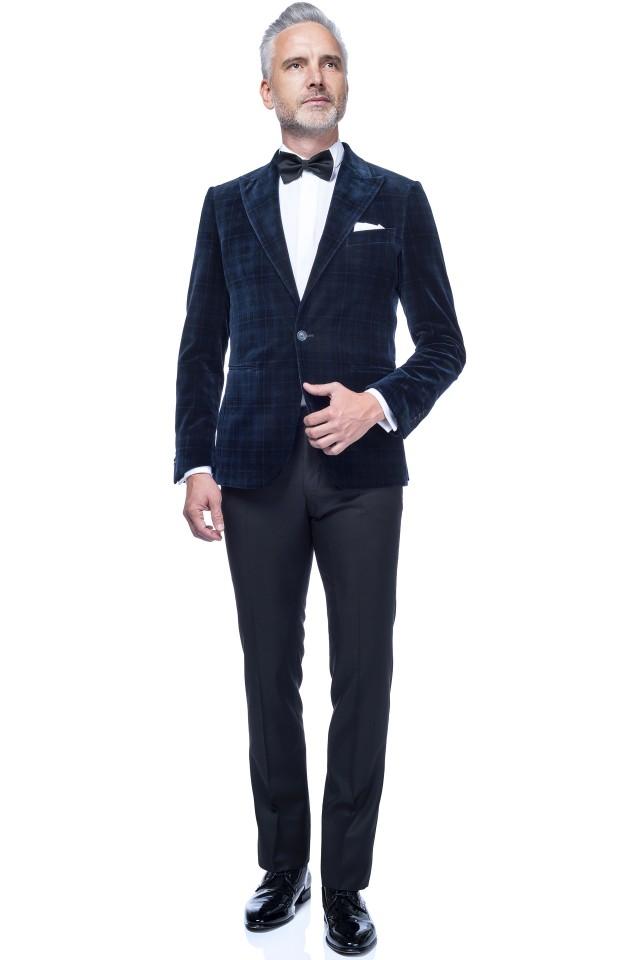 Ținuta de seară Kythnos pentru barbati, cu smoching din catifea cu carouri tartan pentru nunta black tie