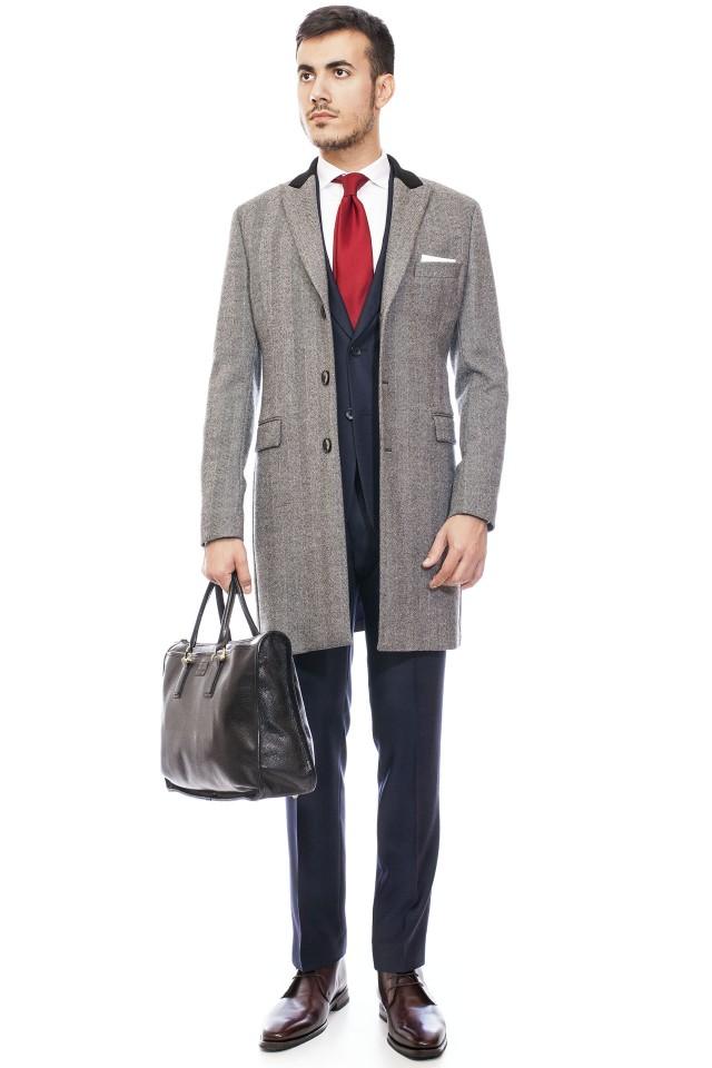Palton barbatesc gri