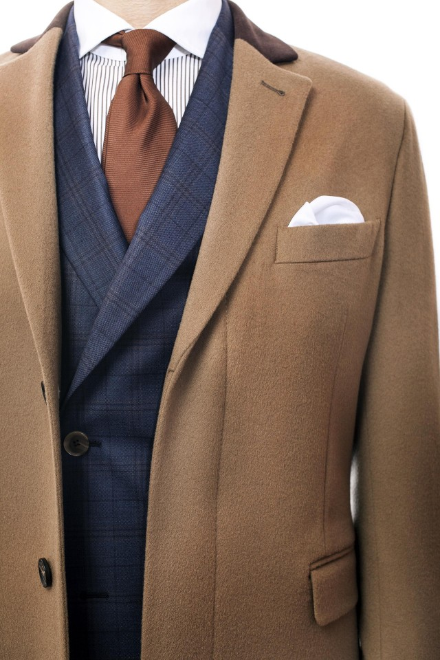 Model de palton maro camel pentru barbati