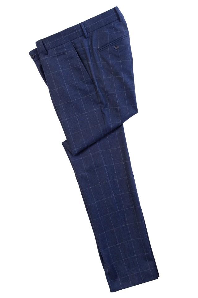 Pantaloni casual flannel albastri pentru barbati