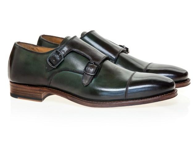 Pantofi Double Monk verzi