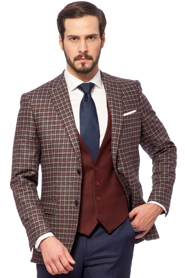 Sacou business casual cu vesta pentru barbati