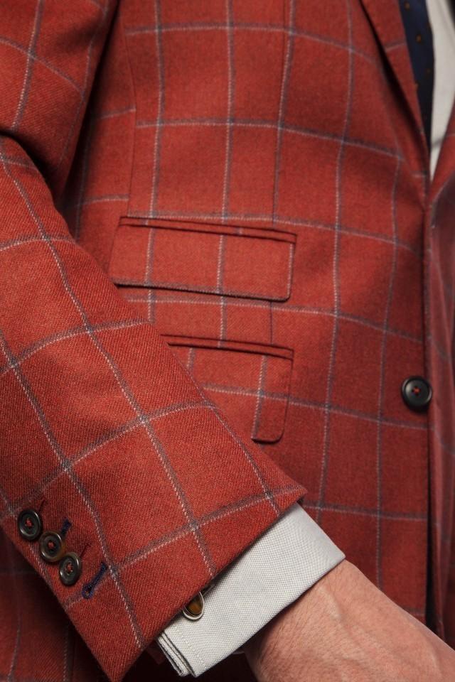 Sacou caramiziu in carouri pentru barbati, stilul business casual Tudor Tailor