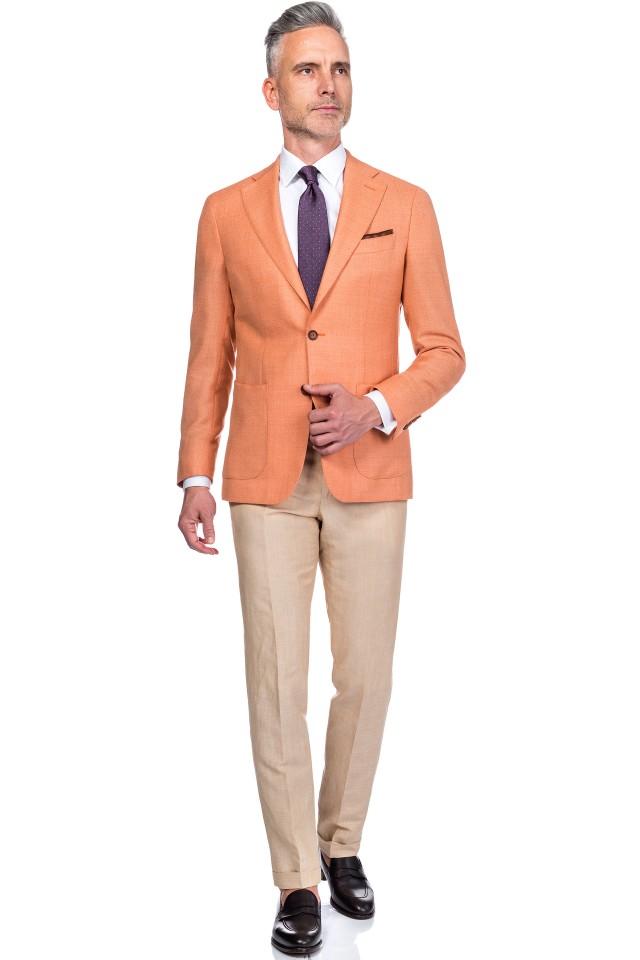 costum de vara portocaliu