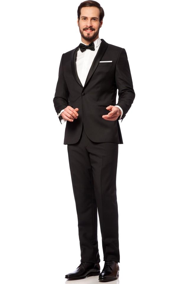 costum elegant black tie cu papion