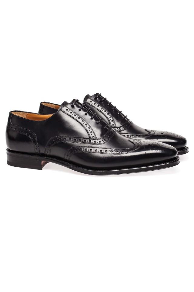 pantofi negri full brogue pentru barbati
