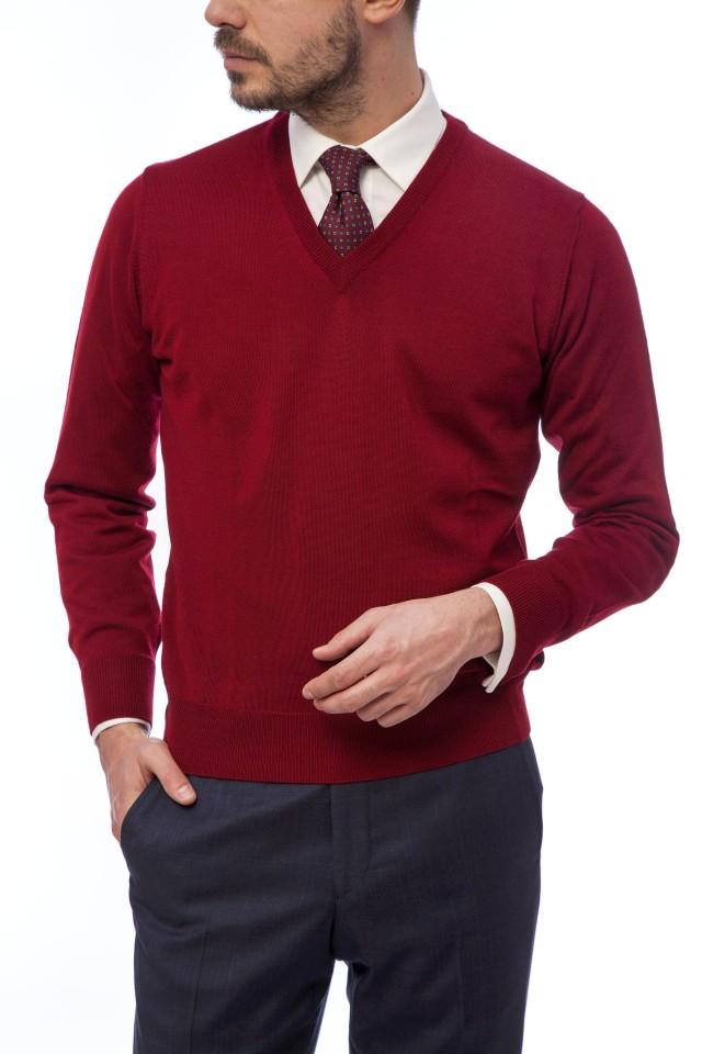 pulover rosu barbati