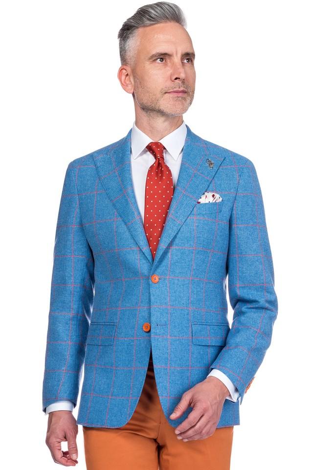 sacou business casual albastru in carouri, pentru barbati Tudor Tailor